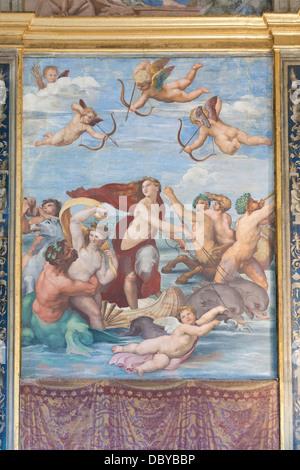 Il Trionfo di Galatea, Raffaello,affresco, Villa Farnesina, Roma, Italia Foto Stock