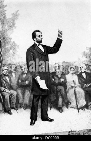 1800s 1860 novembre 19 1863 ABRAHAM LINCOLN fornendo l'indirizzo di Gettysburg alla dedizione di soldati cimitero Foto Stock