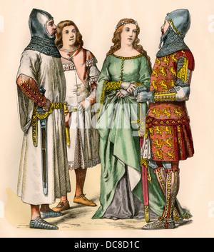 Gunther, rivale re di Germania, un cavaliere, attendant e lady, 1300s. Colorate a mano la stampa Foto Stock