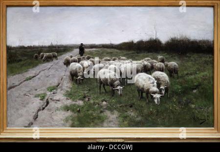 """'Shepherd e pecore"""" da Anton Mauve 1838-1888.olandese pittore realista.cugino-in-legge di Vincent van Gogh. Foto Stock"""