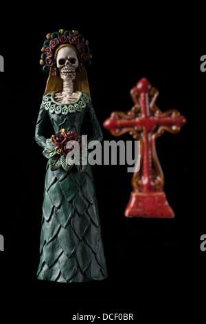 Calavera Catrina conosciuta come 'elegante Skull' Dia de los Muertos (Giorno dei Morti) la celebrazione Foto Stock