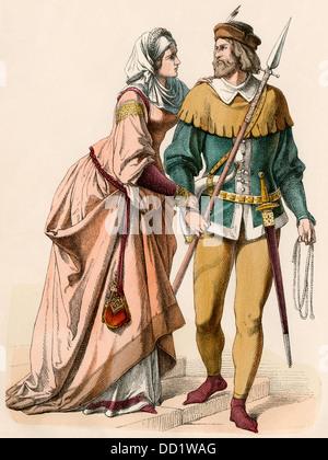 Donna tedesca e un cavaliere vestito per la caccia, 1300s. Colorate a mano la stampa Foto Stock