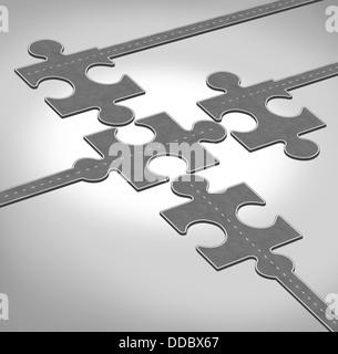 Direzione della connessione come un concetto di business di un gruppo di strade o autostrade a forma di puzzle pezzi Foto Stock