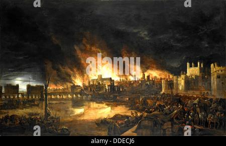 Il Grande Incendio di Londra, 2-5 settembre 1666 Foto Stock