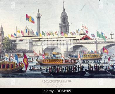 London Bridge (nuovo), Londra, 1831. Artista: Henry Matthews Foto Stock