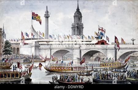 London Bridge (nuovo), Londra, 1831. Artista: Anon Foto Stock
