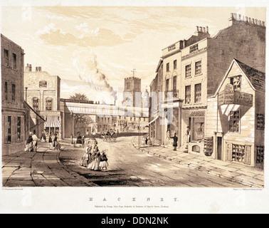 Mare Street, Hackney, Londra, c1845. Artista: CJ Greenwood Foto Stock