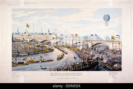 Apertura del London Bridge (nuovo), Londra, 1831. Artista: Anon Foto Stock