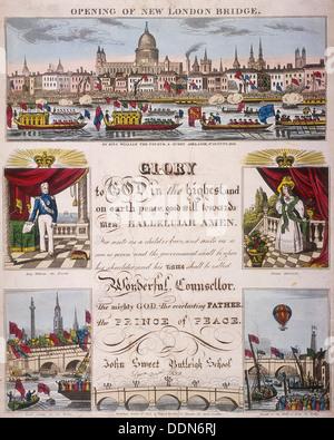 L'apertura del ponte di Londra, 1831. Artista: Anon Foto Stock