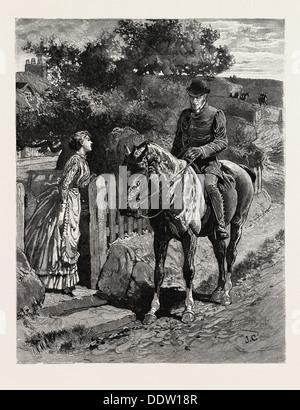 Disegnato da John CHARLTON, vicino al cancello, UOMO, DONNA, incisione 1884, vita in Gran Bretagna, Regno Unito, Foto Stock