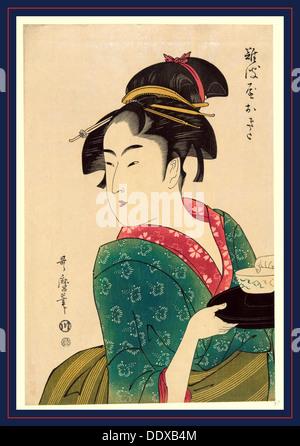 Naniwaya okita, Okita di Naniwa-ya. [1793, stampato in seguito], 1 stampa : xilografia, colore., stampa mostra Naniwaya Foto Stock