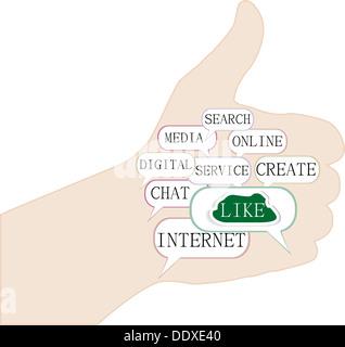 Illustrazione del pollice su un simbolo che è composta da testo parole chiave su simili temi. Isolato su bianco.