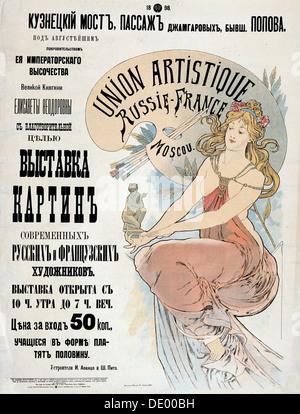 Poster per la mostra di russo e francese artisti, 1898. Artista: Alphonse Mucha