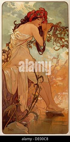 'Summer', 1896. Artista: Alphonse Mucha Foto Stock