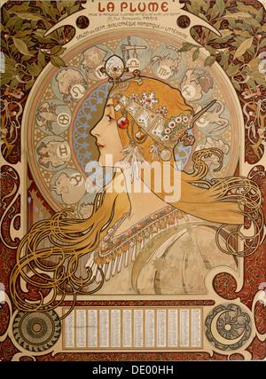 Calendario zodiacale, 1897. Artista: Alphonse Mucha Foto Stock
