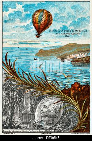 Traversata del canale della Manica da Blanchard e Jeffries, 1785 (1890). Artista: Anon Foto Stock