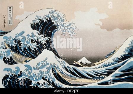 """La grande onda al largo di Kanagawa', C1829-c1831. Artista: Hokusai Foto Stock"