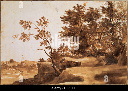 Paesaggio del Tevere con Castel Sant'Angelo in background, tra 1630 e 1640. Artista: Lorrain Claude (1600-1682) Foto Stock