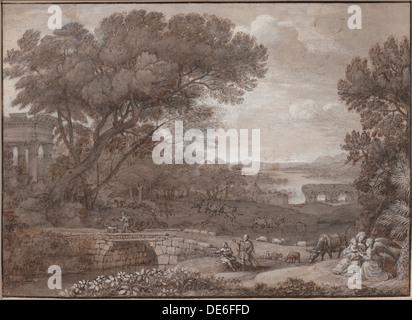 Paesaggio con il resto sulla fuga in Egitto, 1660. Artista: Lorrain Claude (1600-1682) Foto Stock