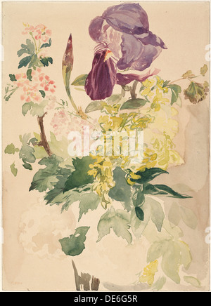 Pezzo di fiori con Iris, maggiociondoli e geranio, 1880. Artista: Manet, Édouard (1832-1883) Foto Stock