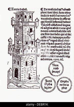 "Torre di Babele. "" Fasciculus temporum'. Venezia, 1484. Foto Stock"