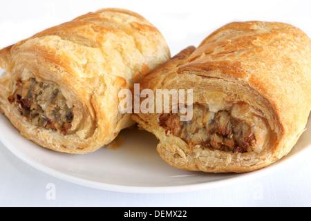 Salsicce di maiale rotoli un tipicamente britannico snack Foto Stock