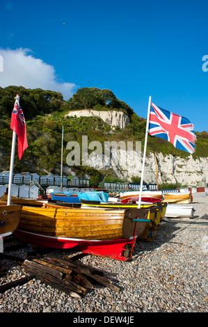 Il clinker-costruito barche di legno sulla spiaggia di birra, Devon, Inghilterra, Regno Unito Foto Stock