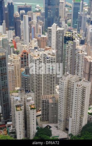 L'alto sollevato alberghi, appartamenti e alloggi di Hong Kong Foto Stock
