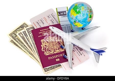Global travel ancora vita su sfondo bianco. Foto Stock