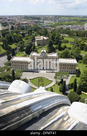 Giardini Vaticani visto da la cupola di San Pietro. Città del Vaticano. Roma. Italia Foto Stock