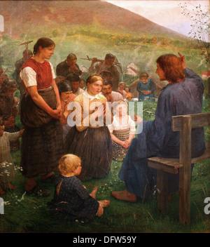 Fritz von Uhde - Il Discorso della Montagna - 1887 - Museo delle Belle Arti - Budapest, Ungheria. Foto Stock