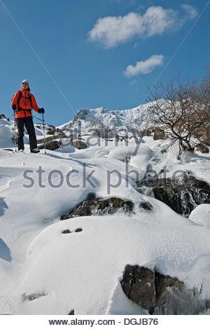 Tre gli alpinisti con le braccia alzate in aria  Scalatore femmina  passeggiando per le strade coperte di neve montagna e2e0cd77683