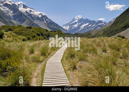 Il Boardwalk presso il Hooker Valley a piedi nella parte anteriore del Mount Cook, il Parco nazionale di Mount Cook, Foto Stock
