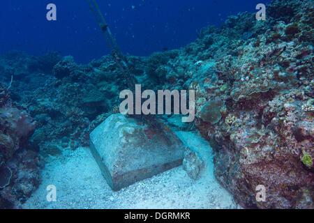 Un dispositivo di ancoraggio realizzato in blocchi di cemento nella barriera corallina, Filippine, Asia Foto Stock