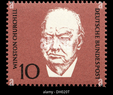 Ritratto di Winston Churchill (1874-1965: Primo ministro britannico) Tedesco sul francobollo. Foto Stock