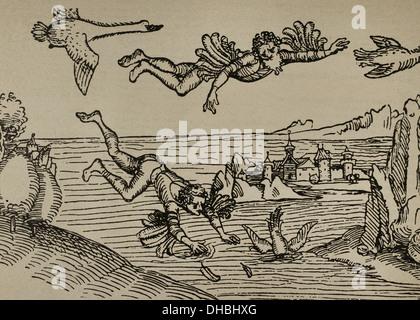 Icarus e suo padre Daedalus battenti. Incisione di Albrecht Durer, 1493. Foto Stock