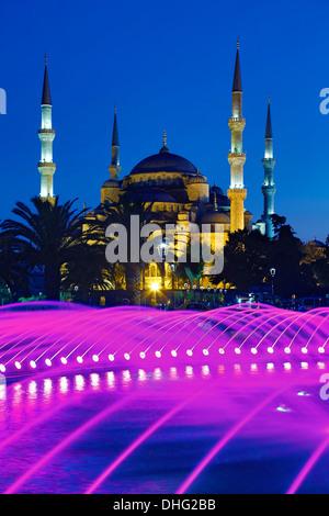 Fontana e Moschea blu, Istanbul, Turchia Foto Stock