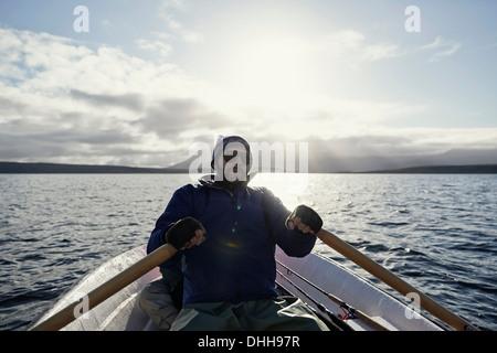 L'uomo sul viaggio di pesca Foto Stock