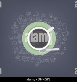Illustrazione moderno concetto di pensare, di brainstorming e di sviluppo business e marketing idee mentre si beve Foto Stock