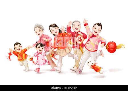 La grande famiglia per celebrare il capodanno cinese Foto Stock