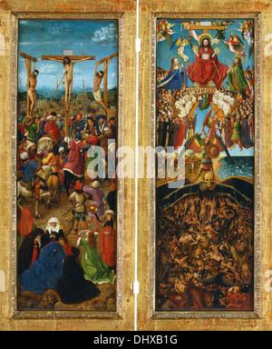 La Crocifissione e il giudizio ultimo dittico - di Jan van Eyck, ca. 1435-40 Foto Stock