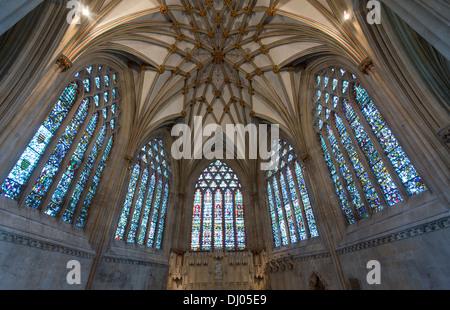 Cattedrale di Wells, signora cappella, Chiesa di Inghilterra, Somerset, Regno Unito Foto Stock