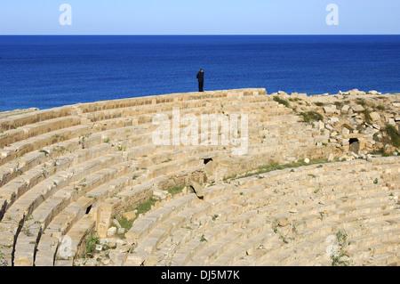 Anfiteatro di Leptis Magna, Libia Foto Stock