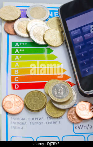 Risparmio di denaro grazie a efficienza energetica concept Foto Stock