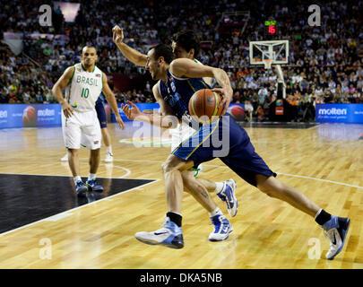 Sett. 11, 2011 - Mar del Plata, Buenos Aires, Argentina - Argentina del Manu Ginobili come Argentina vince la FIBA Foto Stock