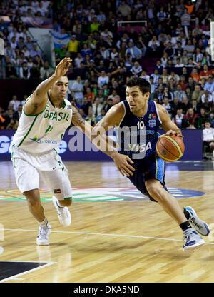 Sett. 11, 2011 - Mar del Plata, Buenos Aires, Argentina - Argentina CARLOS DELFINO come Argentina vince la FIBA Foto Stock