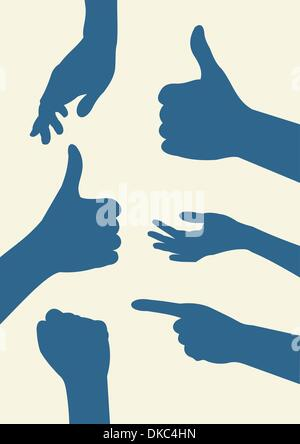 Silhouette di mani Foto Stock