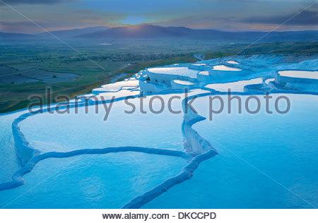 Il travertino piscine sulla terrazza, Pamukkale, Anatolia, Turchia, Asia Foto Stock