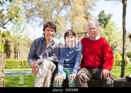 Ritratto di tre generazioni la famiglia Foto Stock