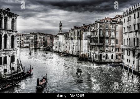 Una vista del Canal Grande di Venezia, Italia Foto Stock